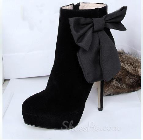 Elegant #Black Suede #Round Toe Bpwtie Decoration High #Heel #Boots