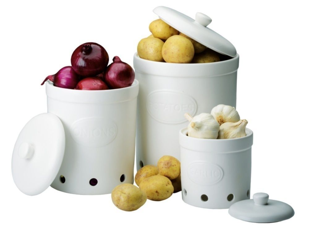 image result for potato onion and garlic storage containers sets home decor jar storage. Black Bedroom Furniture Sets. Home Design Ideas