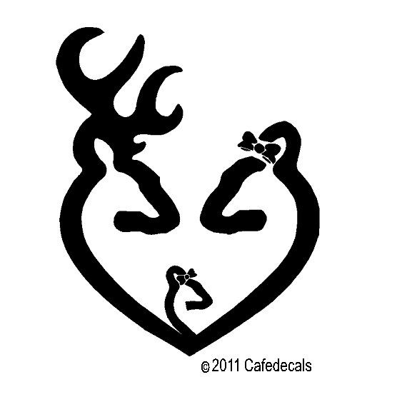 6 Inch Browning Heart Buck Doe And Baby Doe With By Cafedecals