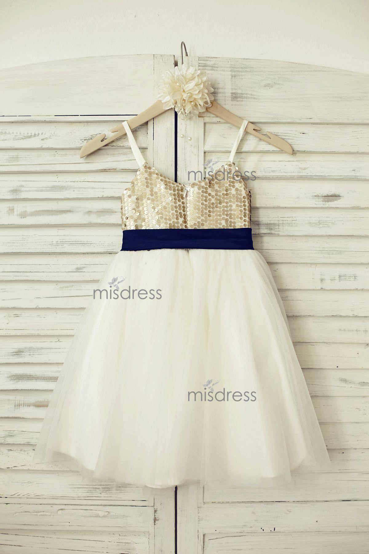 Thin Straps Champagne Sequin Tulle Flower Girl Dress with navy blue belt --- Misdress.com