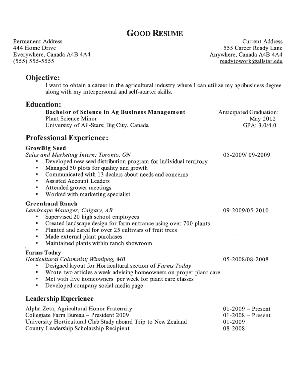 Resume Objective Examples For First Job