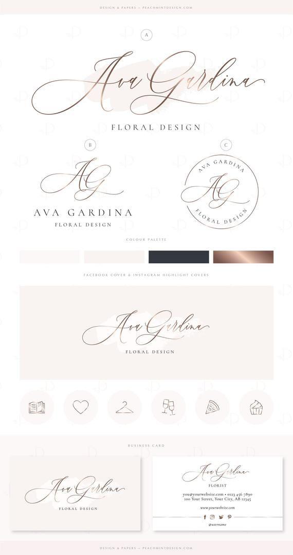 Beauty Logo Design Business Branding Package, Premade
