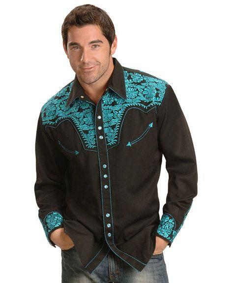 Country/Western-paidat KOKO XL Ihan kaikenlaiset käy, ei tarvii olla just tämä eikä edes tämän värinen. Scully Turquoise-hued Embroidery Retro Western Shirt