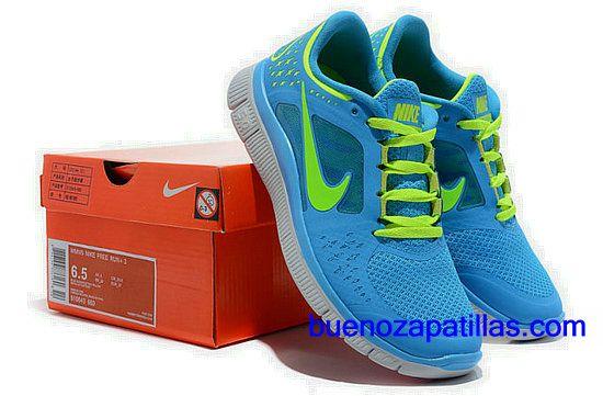 pretty nice b7388 565a4 Mujer Nike Free Run 3 Zapatillas (color   empeine y en el interior - azul