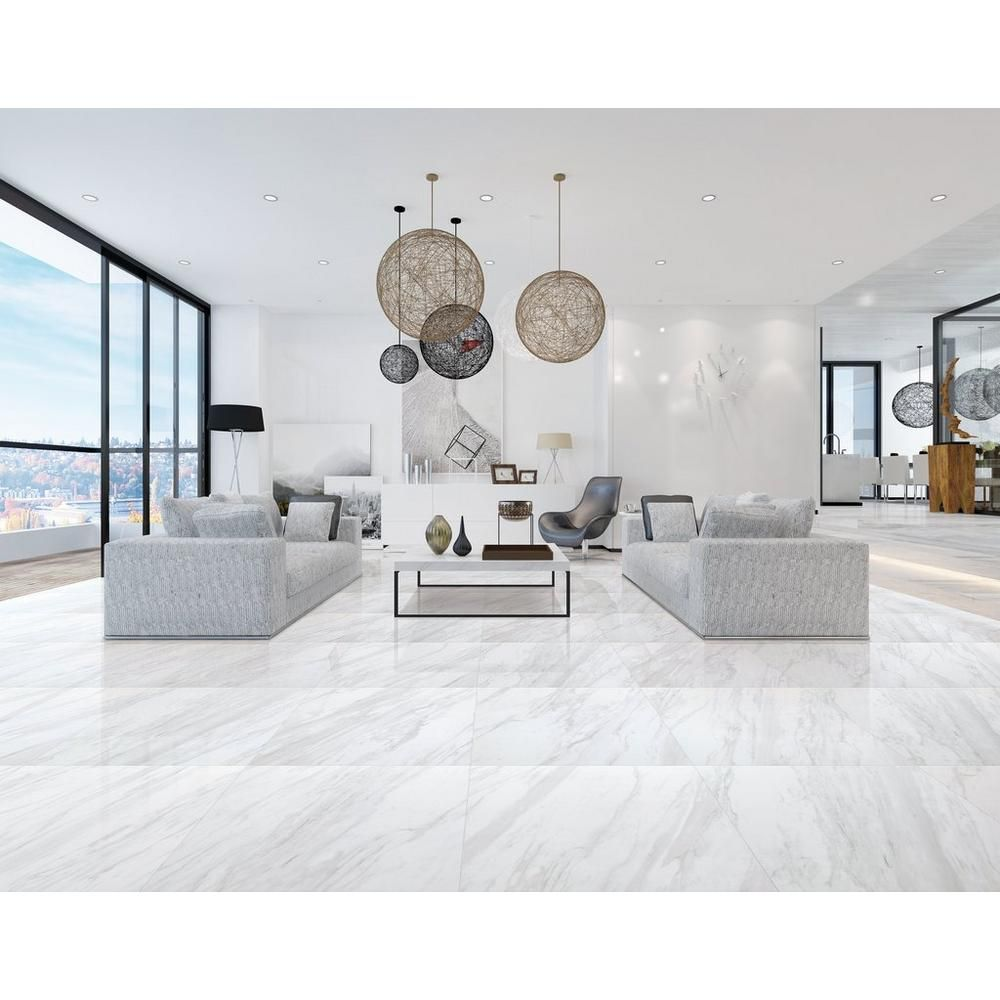 Volakas Plus Polished Porcelain Tile Floor Decor Tile Floor Living Room Living Room Tiles Living Room Design Small Spaces