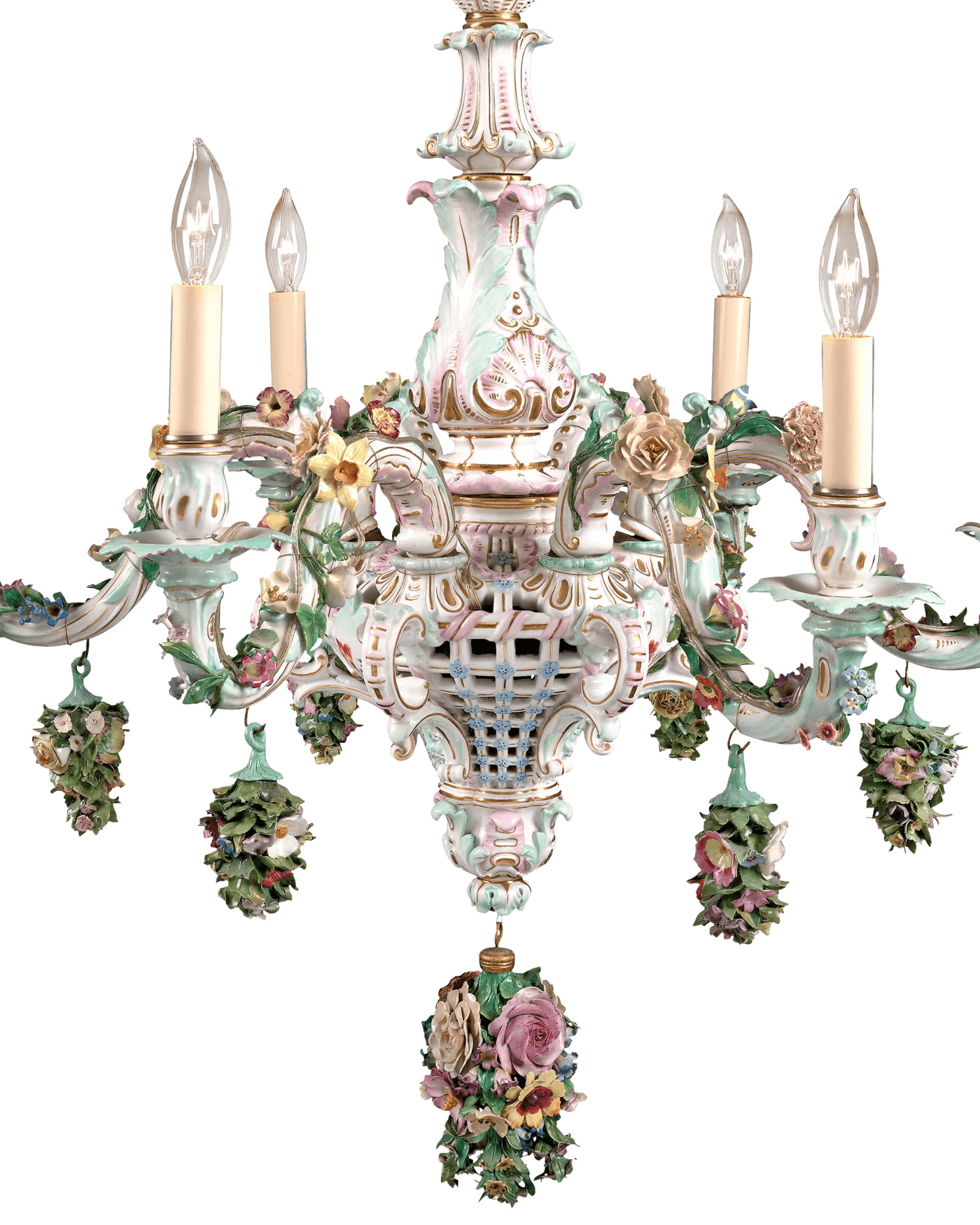 This magnificent porcelain chandelier crafted by the renowned meissen porcelain 6 light chandelier porcelain since 1912 arubaitofo Gallery