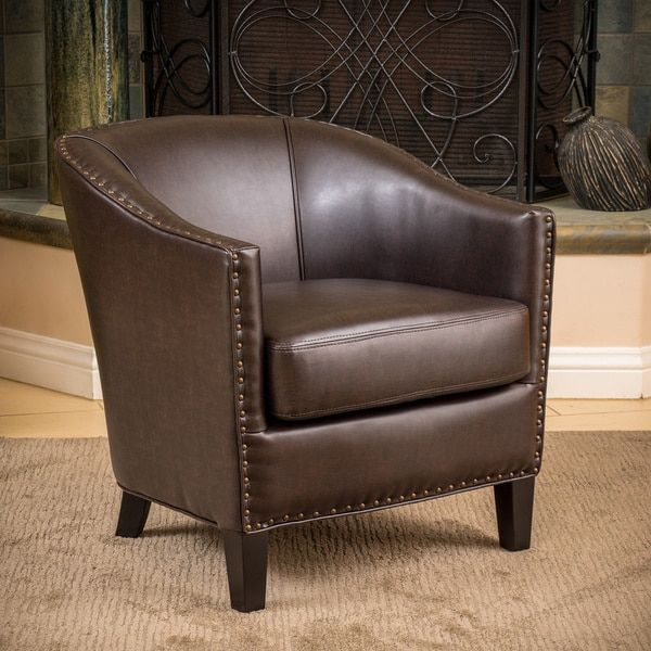 Austin Brown Bonded Leather Club Chair By Christopher Knight Home    Overstock.com Shopping