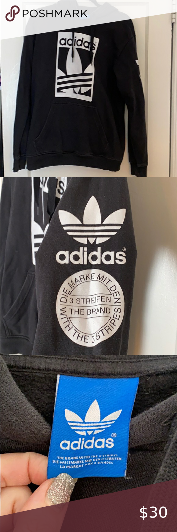 Adidas Sweatshirt Multiple Logos Cute Lightweight Adidas Black And White Sweatshirt Has Kang Adidas Sweatshirt Black Sweatshirt Hoodie Black Pullover Hoodie [ 1740 x 580 Pixel ]
