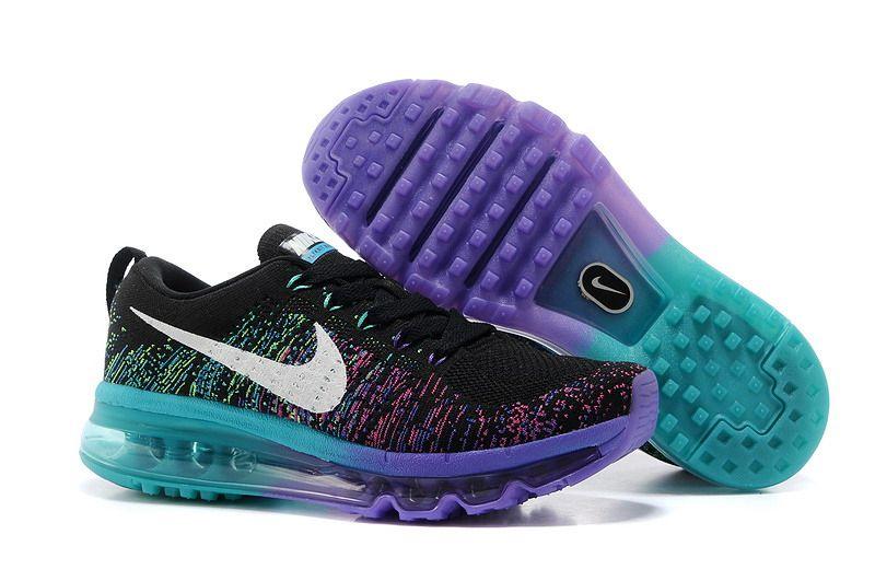 save off 26dc0 88132 Nike Flyknit Air Max Rainbow Purple Black Women ...