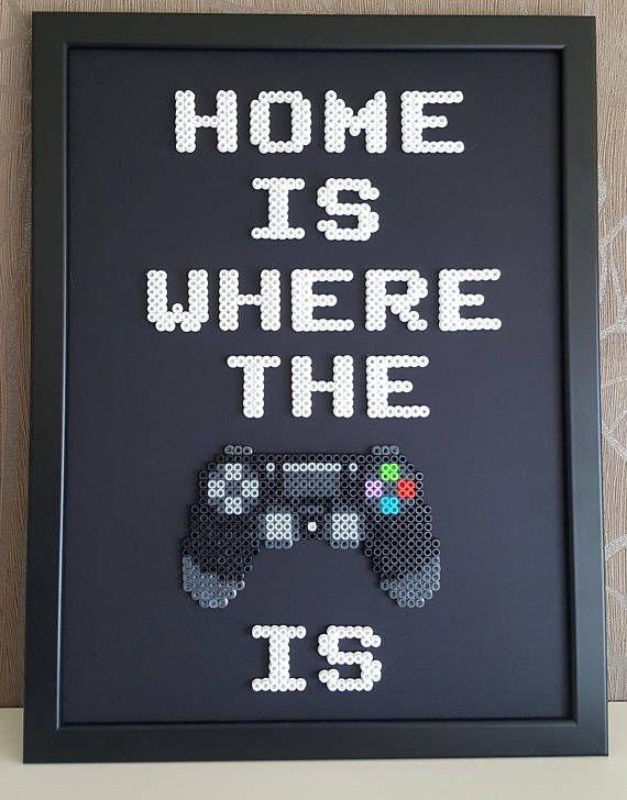 Home is where the ps4 is | Framed home decor | Pixel art 8 bit Hama beads Perler beads Geek Nerd Gamer gift Modern Home sweet home Man cave #sjovmedperler