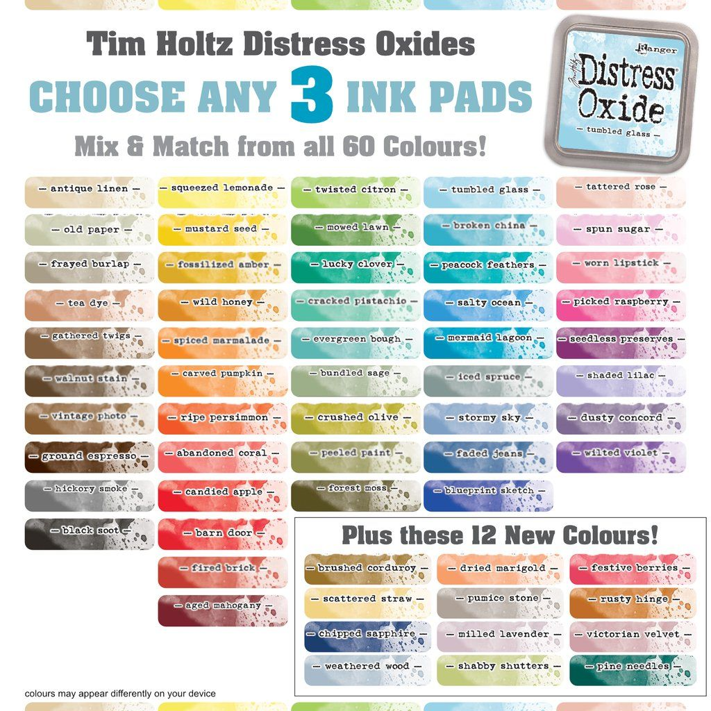 Tim Holtz Distress Oxide Ink Pad Any 3 Colours In 2020 Distress Ink Techniques Distress Oxides Distress Oxide Ink