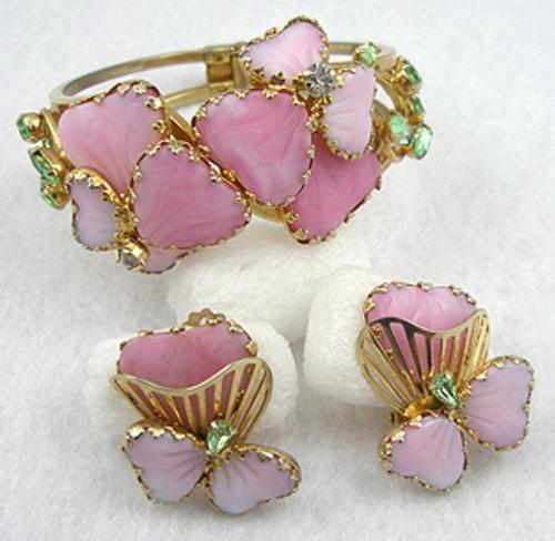 Poured Glass Clamper Set Green Glass Clamper Bracelet Earrings Set Clamper Bracelet Vintage Clamper Bracelet Green Poured Glass Clamper Set
