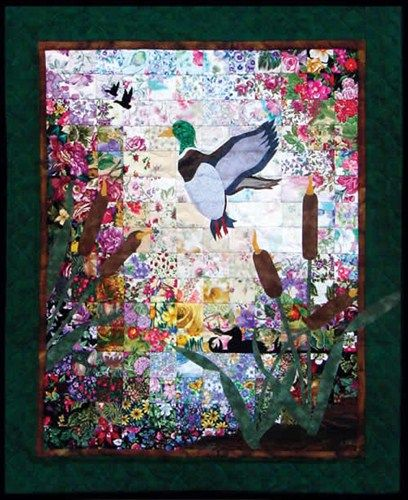 Ducks And Cattails Watercolor Quilt Kit Without Border