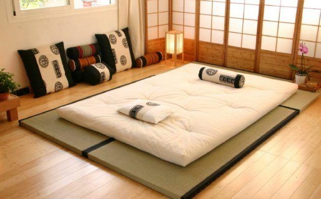 lit futon chambre a coucher japonaise