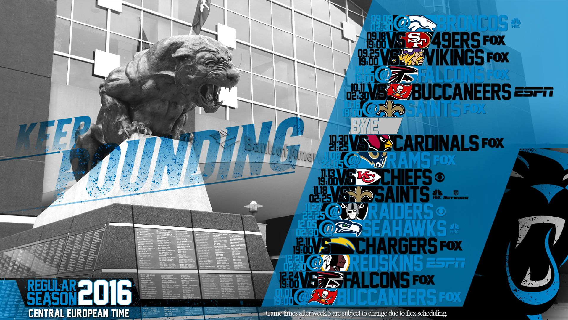 Schedule wallpaper for the Carolina Panthers Regular
