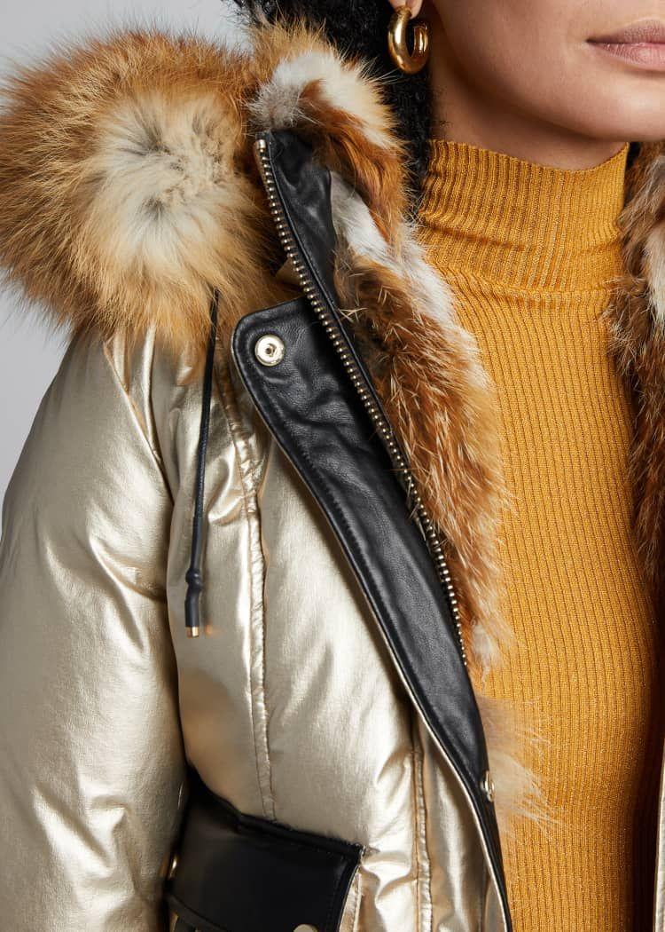 Nicole Benisti Mayfair Fox Fur Trimmed Hooded Puffer Coat Puffer Coat Fashion Coat [ 1050 x 750 Pixel ]