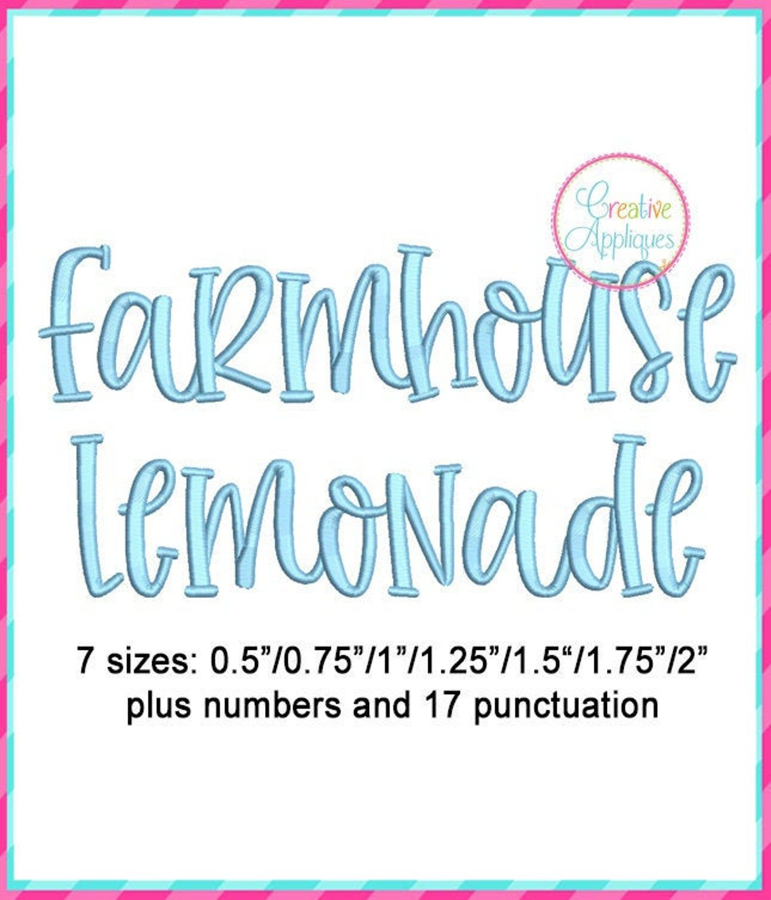 7 Sizes Farmhouse Lemonade Embroidery Alphabet Font
