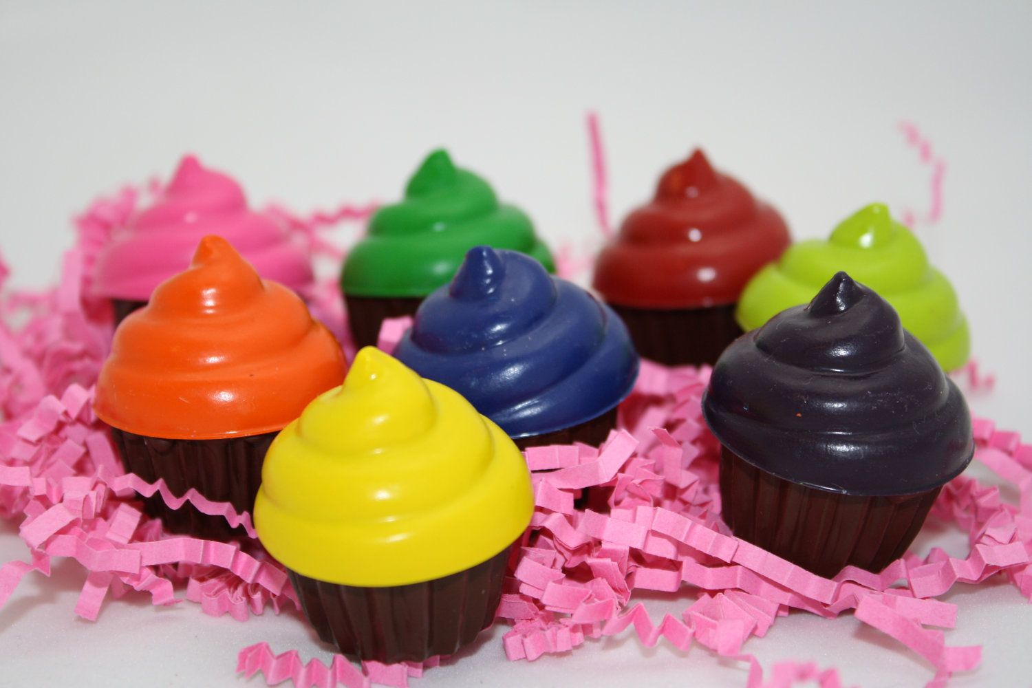 This shop has the coolest kids crayons!  8 mini cupcake crayons - in cello bag tied with ribbon - choose your colors. $8.00, via Etsy.