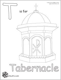 T Is For Tabernacle Coloring Pages Tabernacle Catholic Catholic Coloring