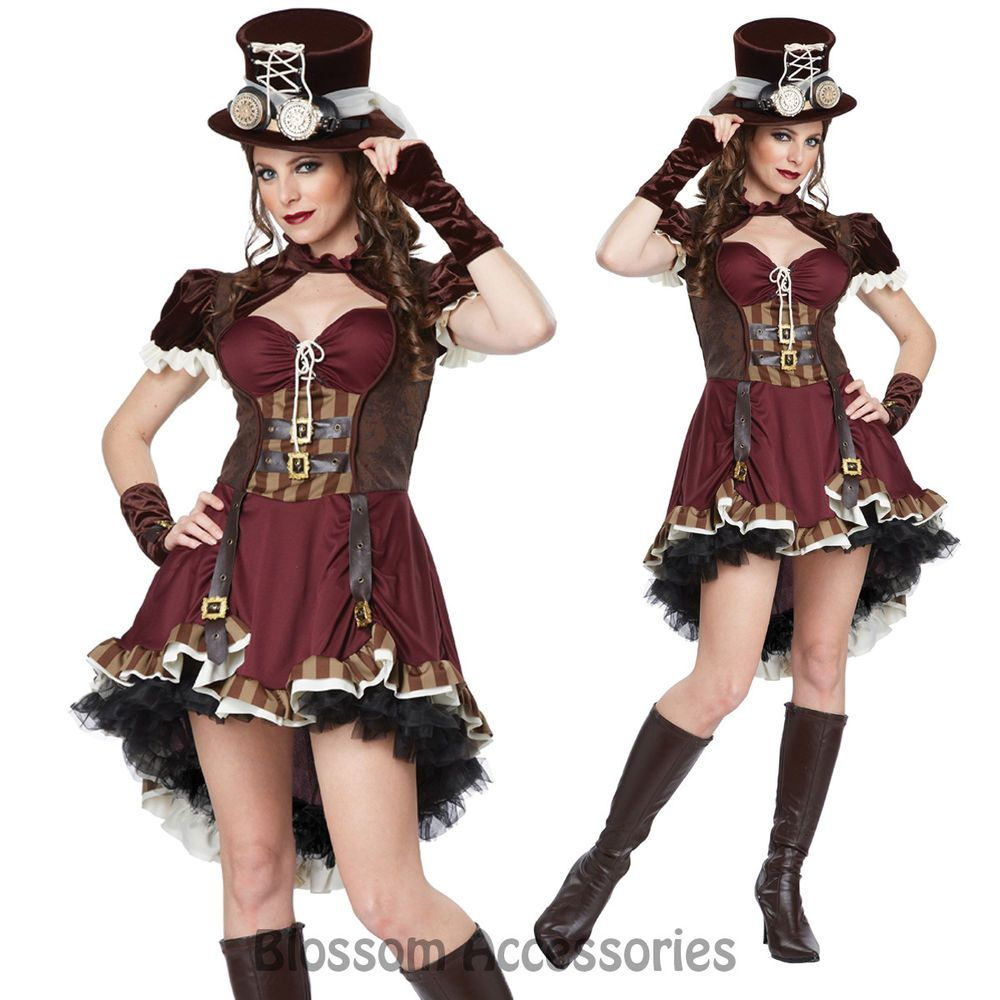 Steampunk Victorian Girls Women Cosplay Fancy Dress Up Halloween Party Costume