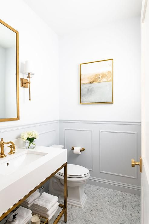 Restoration Hardware Hudson Metal Single Extra-Wide Washstand fitted with a quartz top, a vintage polished brass hook and spout faucet and glass shelf. #restorationhardware