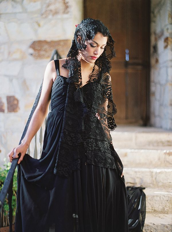 Black Wedding Dress with a Lace Mantilla Veil | Jessica Burke Photography |  Colorful California Mission Wedding Style