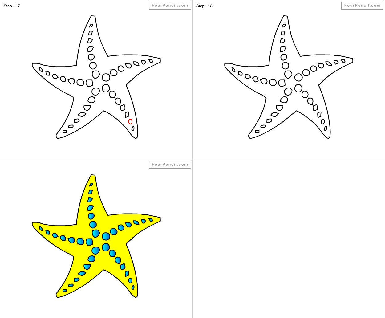 How to draw Starfish for kids step by step drawing ...