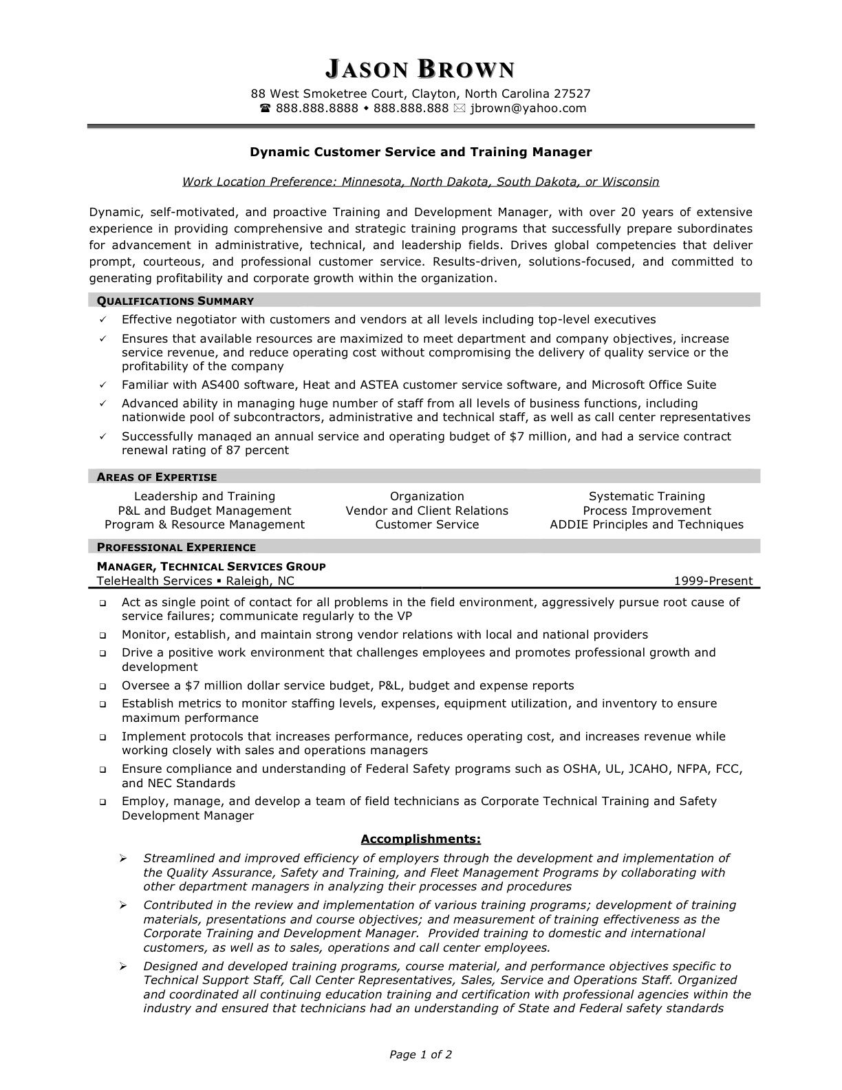 Training Manager Resume Customer Service Manager Resume  Httpwwwresumecareer