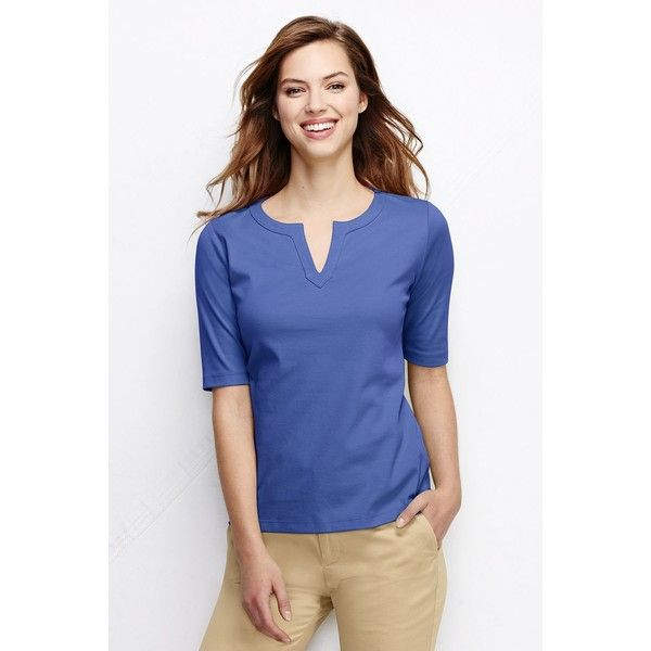 8615345a56cf1 Lands  End Women s Fitted Half Sleeve Splitneck Top