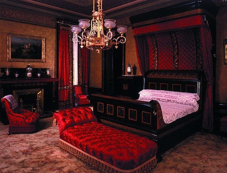 Gothic Bedroom With Wallpapaer And Sleigh Bed And Red Tufted Seating : Gothic  Bedroom Theme.