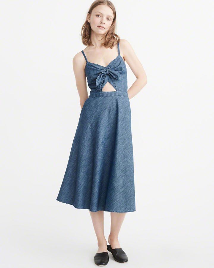 0749af4775f Abercrombie   Fitch Knot-Front Denim Dress