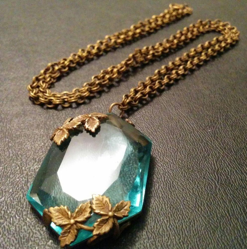 Antique Deco Huge Blue Topaz Crystal Faceted Glass Flower Pendant Necklace S19