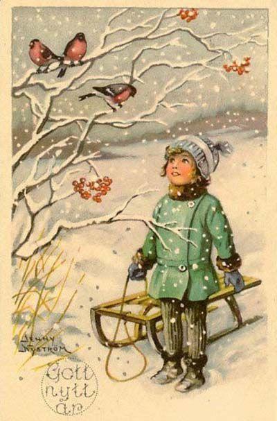 Antiche Immagini Di Natale.Vintage Christmas Art With Birds Antiche Cartoline Di