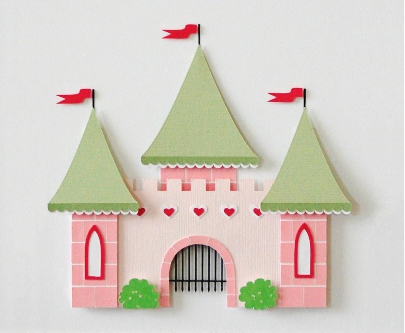 castle fairy tale decor kids wall decor princess theme matted art custom decor pink green castle - Kids Wall Decor