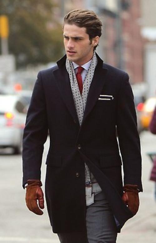 black coat, white dress shirt, dark gray dress pants, dark red tie for men