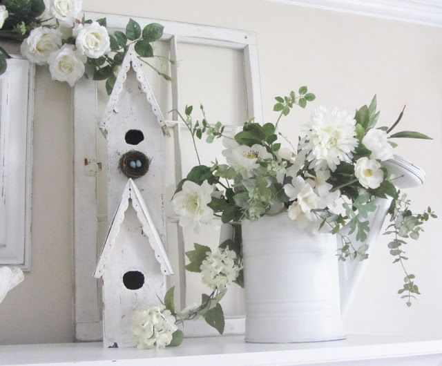 Junk Chic Cottage Great summer mantel idea, bird houses buckets and ...