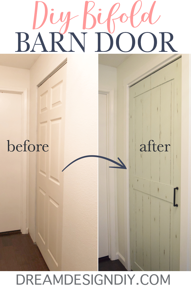Diy Bifold Barn Door Transform A Closet Door For 15 With 1 4 Plywood Bifold Barn Doors Laundry Room Doors Bifold Closet Doors