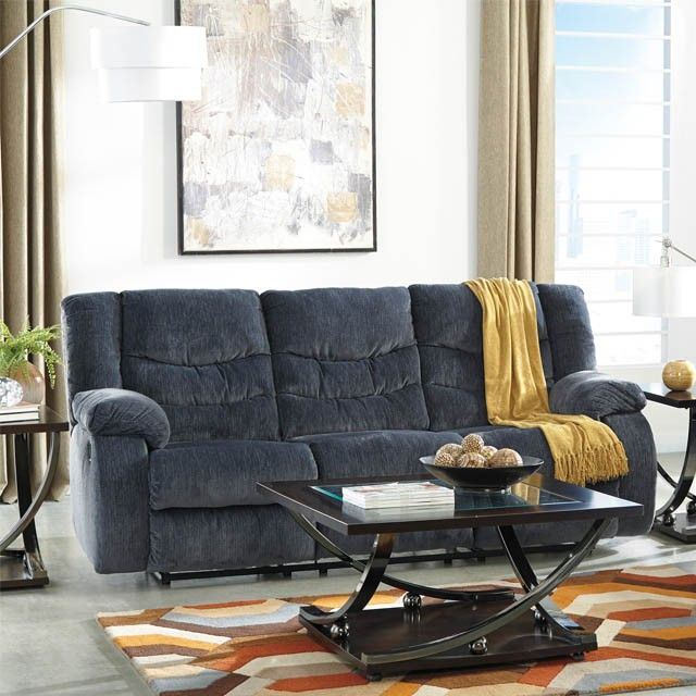 Best Garek Blue Reclining Sofa Blue Reclining Sofa 400 x 300