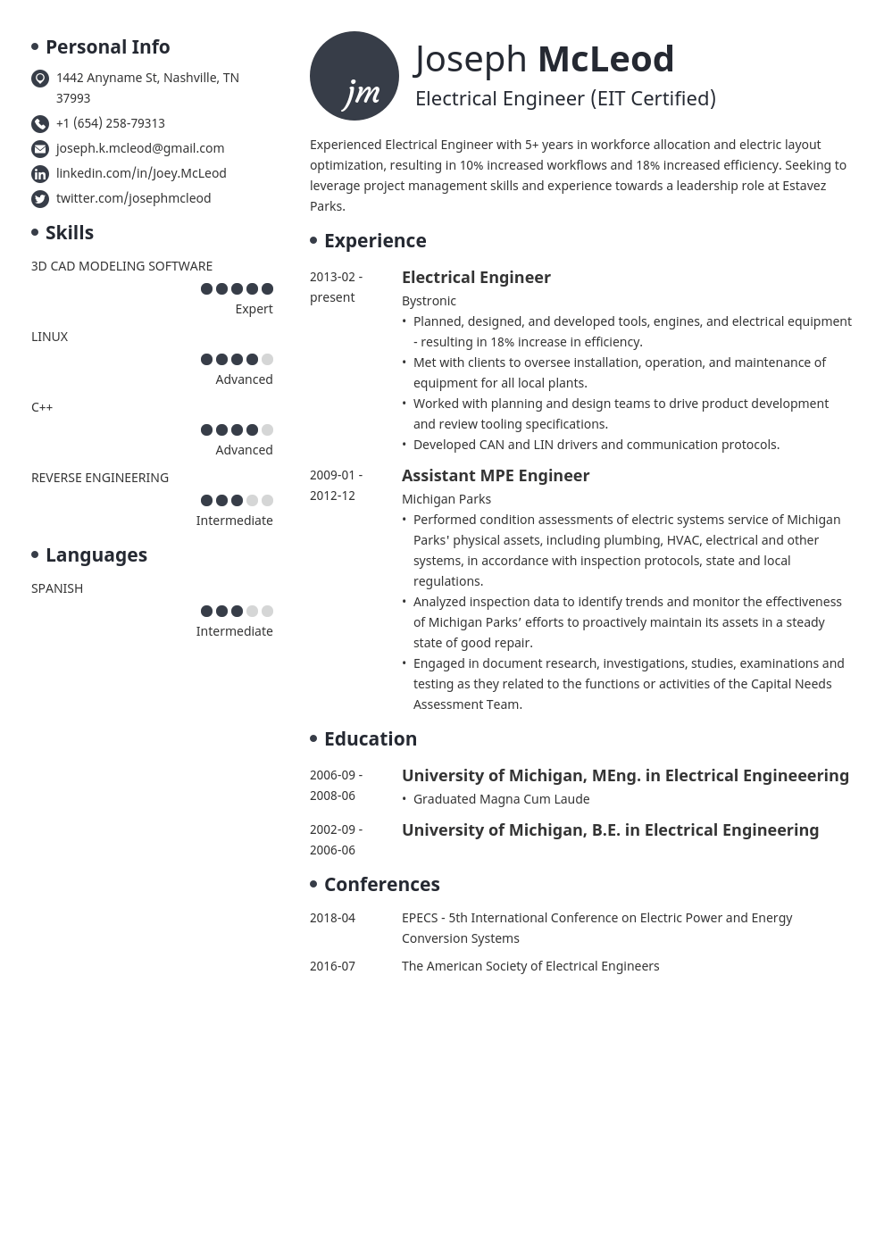 Electrical Engineering Resume Example Template Initials Engineering Resume Resume Examples Job Resume Examples