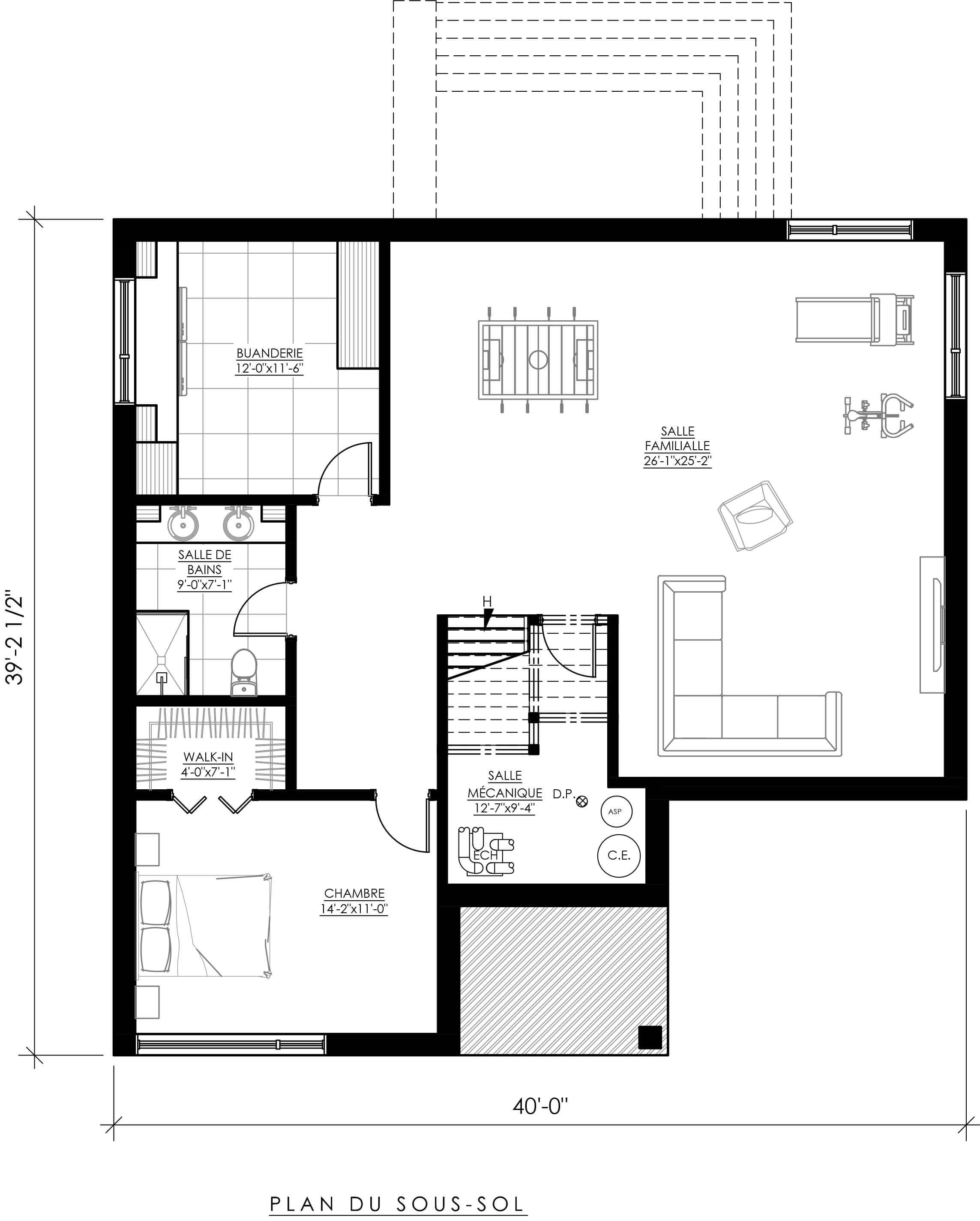 plan de maison 1/2 sous sol