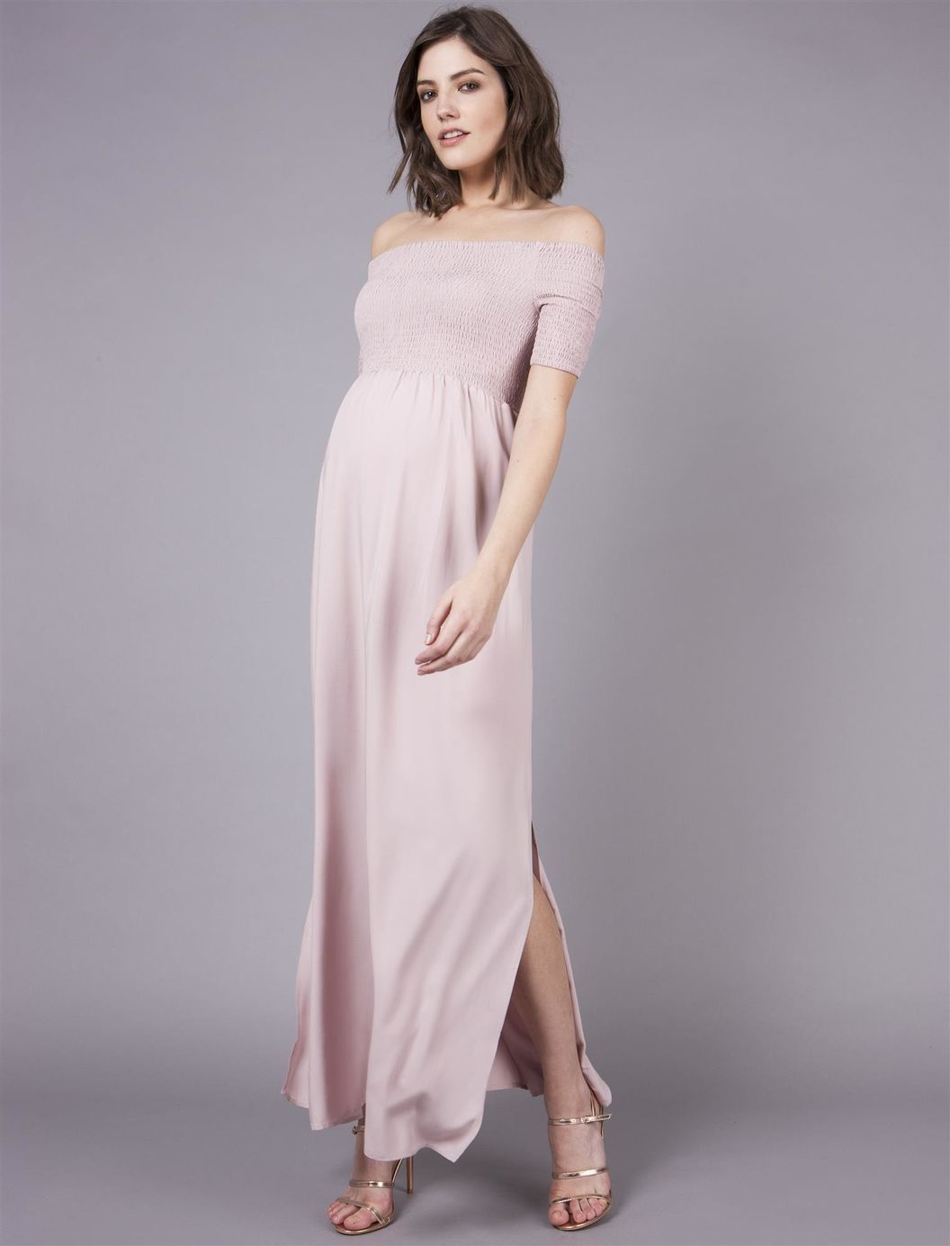 3806957332 Seraphine Off The Shoulder Maternity Dress