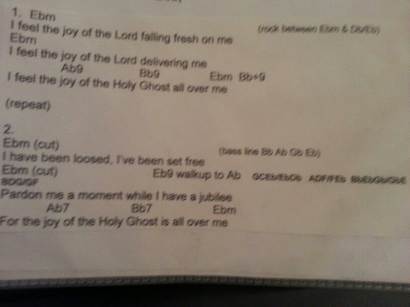 I Feel The Joy Of The Lord Falling Fresh On Me Chords Music