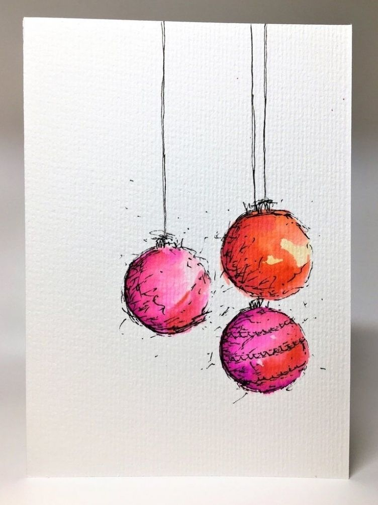 Original Hand Painted Christmas Card - Bauble Coll