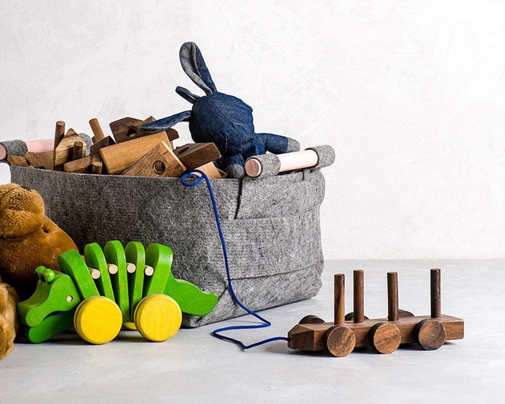 Storage Bin from Soft Felt with Wood Handles Toy Storage Storage Basket SB-01 (26.00 USD) by loopdesignstudio