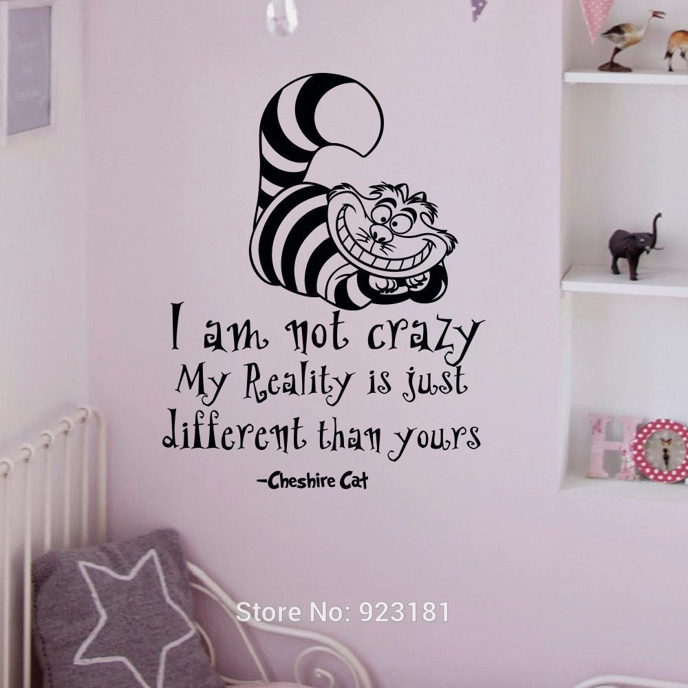 Alice in wonderland quotes cheshire cat wall art sticker decal alice in wonderland quotes cheshire cat wall art sticker decal home diy decoration wall mural removable amipublicfo Images