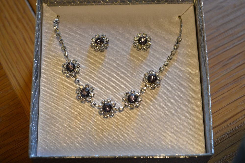 Rhinestone Necklace - Tanzanite Rhinestone Clear Rhinestone Necklace #Unbranded