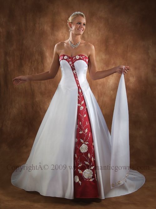 White black and red wedding dress
