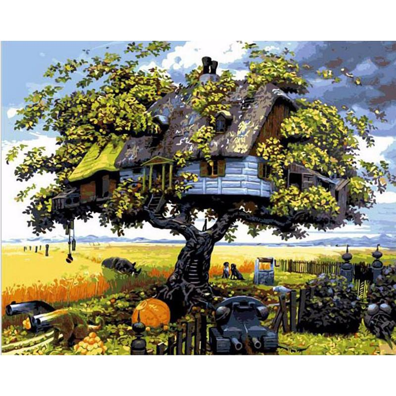 Anime Tree House Easy Diy Paint By Numbers Kits In 2020 Landscape Paintings Beautiful Tree Houses Tree Art