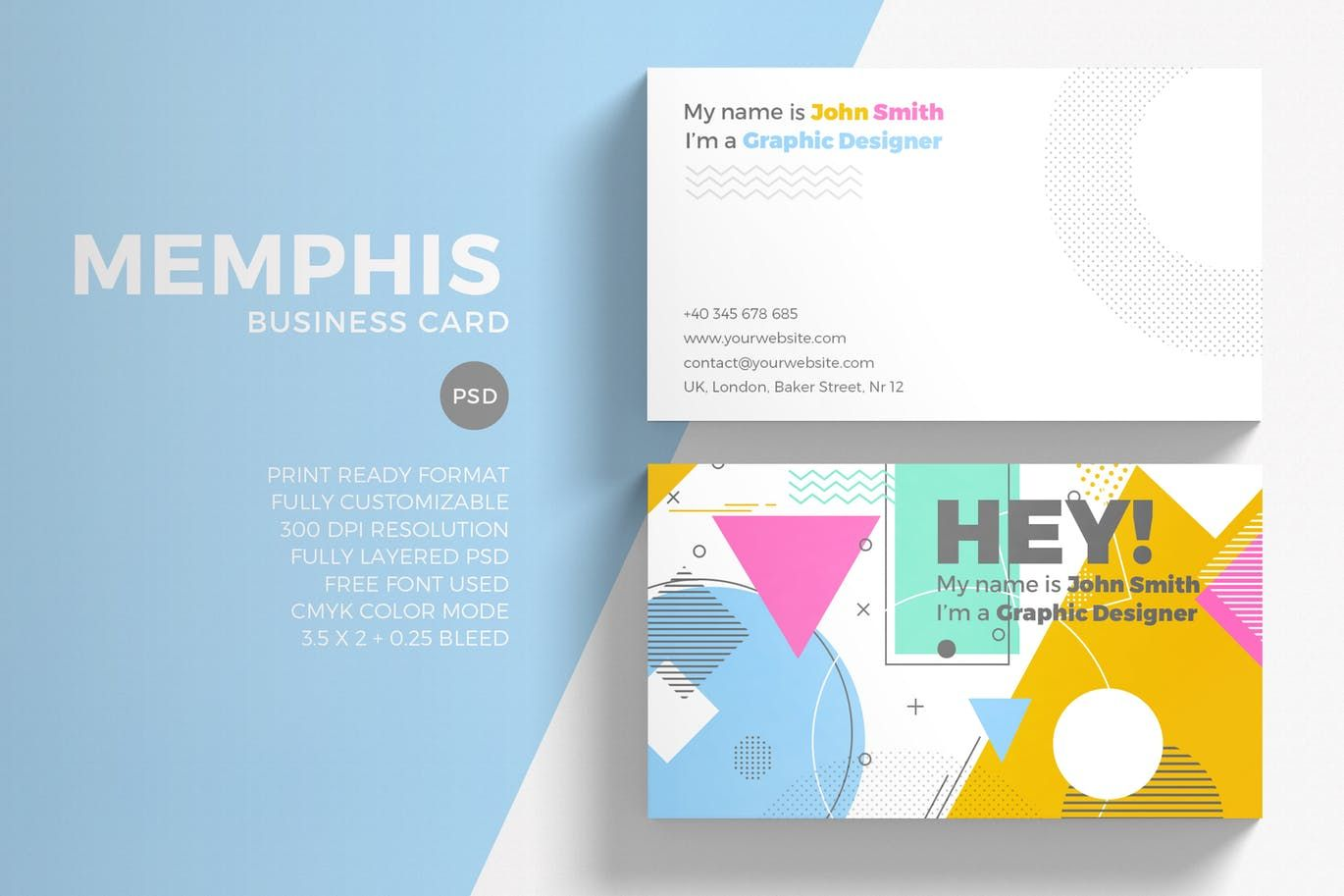 Memphis Business Card Template PSD | Business Card Templates ...