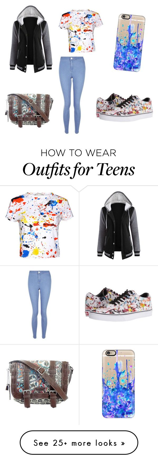 """""""Paint Splatter"""" by georgiamc2002 on Polyvore featuring Vans, Casetify, New Look, Alice + Olivia and UNIONBAY"""